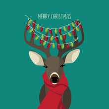 Christmas Reindeer Wearing Red Scarf And Festive Lights. EPS 10 Vector Royalty Free Illustration.