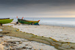 Coastal landscape with anchored fishing boats and nets, Baltic Sea