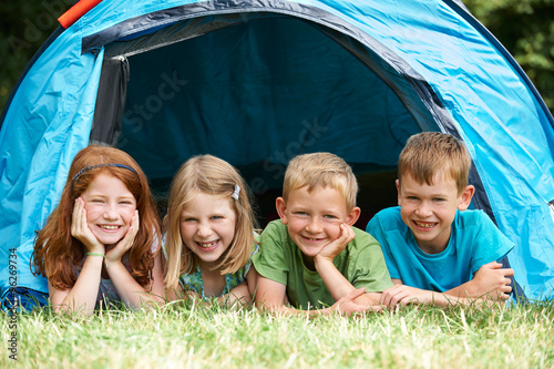Aluminium Prints Camping Group Of Children On Camping Trip Together