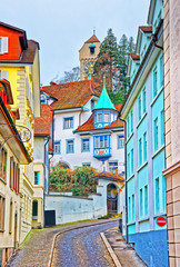 Obraz na Szkle Uliczki Narrow street with colorful buildings in Lucerne