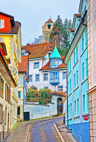 Narrow street with colorful buildings in Lucerne - 96270983