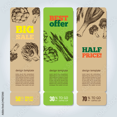 Fototapety, obrazy: Hand-drawn vegetables on vector banners.