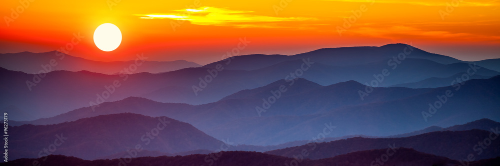 Fototapety, obrazy: Smoky mountain sunset