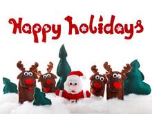 Santa, Deer Dolls In Snow For Christmas, Xmas On White.