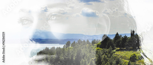 Double exposure of girl portrait and landscape letterbox