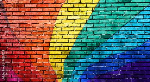 Rainbow painted brick wall. Wallpaper Mural
