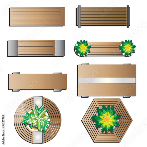 Outdoor Furniture Bench Top View For Landscape Design Set 5 Vector Illustration Buy This Stock Vector And Explore Similar Vectors At Adobe Stock Adobe Stock,Simple Modular Kitchen Designs With Price