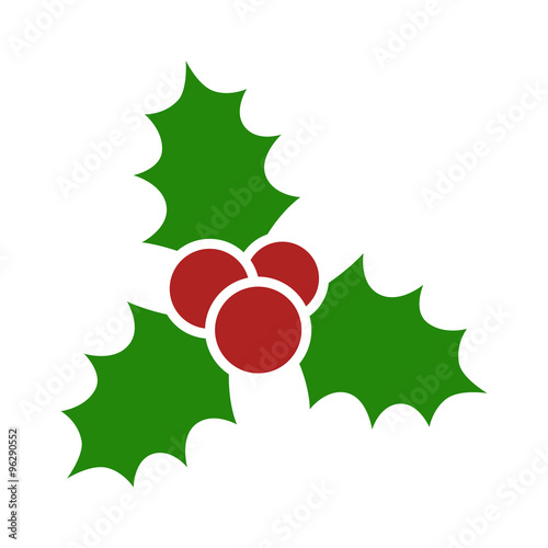 Fotografie, Obraz  Christmas mistletoe flat icon for apps and websites