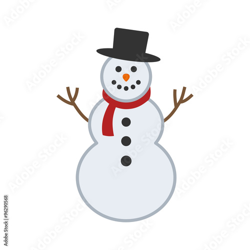 Photo  Happy winter snowman with hat and scarf vector illustration for apps and website