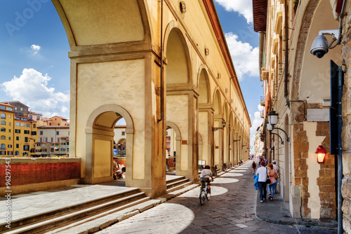Foto op Canvas Florence Arches of the Vasari Corridor in Florence, Tuscany, Italy