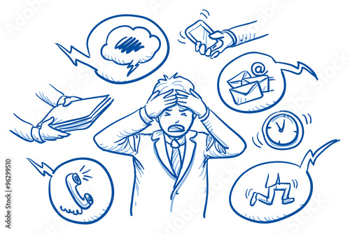 Fotografía  Business man holding his head in pain, surrounded by work icons, concept for str