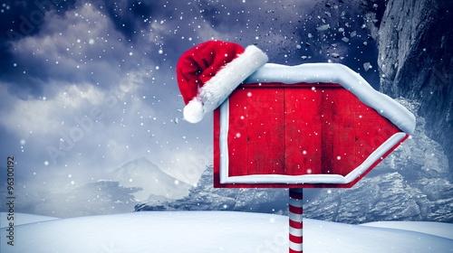 Canvas Print Santa sign in north pole