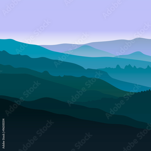 Poster Bleu nuit View of blue mountains.Mountain landscape.