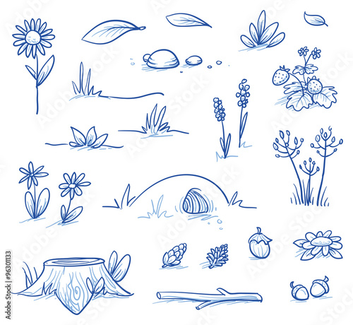 Fotobehang Wit Set of landscape and nature background parts: stump, strawberries, nuts & cones, stones, hills, grass, leaves and flowers. Hand drawn vector illustration.
