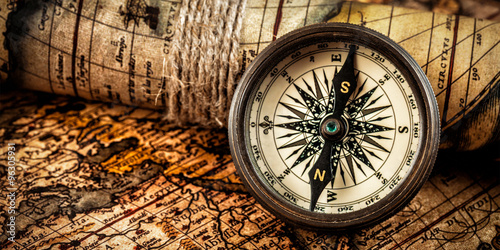 Acrylic Prints World Map Old vintage compass on ancient map