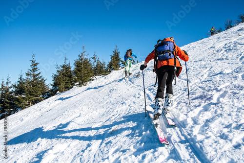 Aluminium Prints Mountaineering skialpinists on a snowy slope
