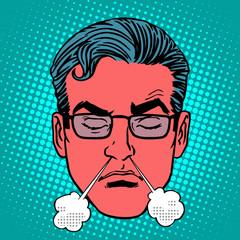 Retro Emoji anger rage emotions male face
