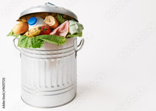 Fresh Food In Garbage Can To Illustrate Waste Canvas Print
