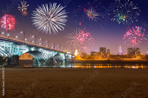 Fototapeta New Year fireworks display in Warsaw, Poland obraz