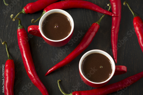 Hot chocolate with red chil...