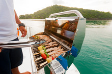 Barbecue Preparing For A Party On The Luxury Catamaran Yacht