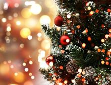Christmas Tree On Bokeh Lights Background