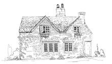 Old English Stone Cottage, Sketch Collection