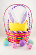 Easter basket with eggs and bunny ears