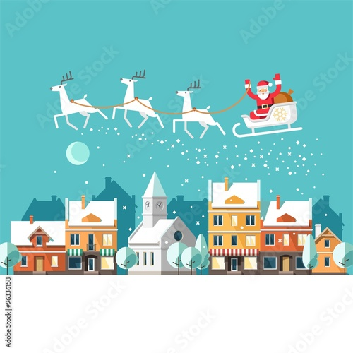 Spoed Foto op Canvas Turkoois Santa Claus on sleigh and his reindeers. Winter town. Urban winter landscape. Christmas card. Vector illustration, flat style.