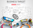 Business Targe Concept with Doodle design style