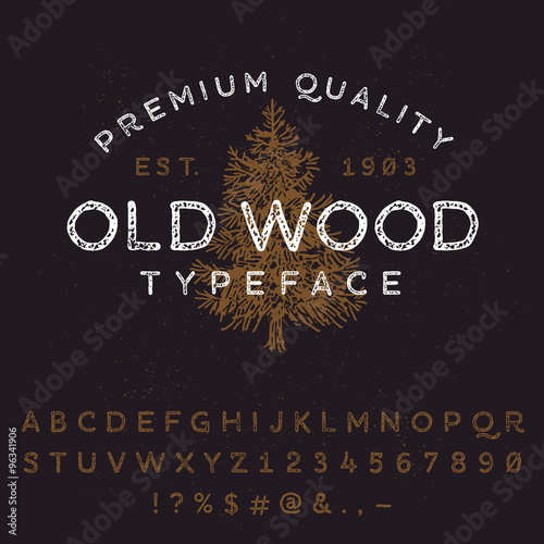 Fotografiet  Vector handmade font. Latin alphabet letters and numbers