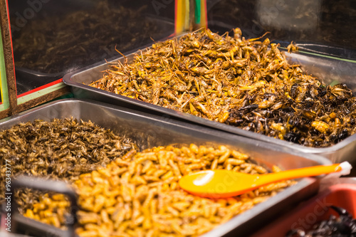 Photo  Fried insects like bugs, grasshoppers, larvae, caterpillars and scorpions are so