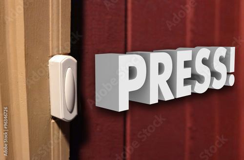 Fotografie, Obraz  Press 3d Word Doorbell  Visitor Guest Arrive