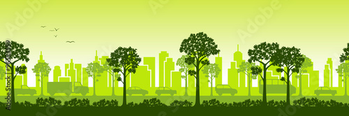 Poster Lime groen Urban landscape, can also be used as a continuous panoramic