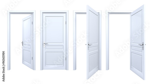 Collection of isolated white doors Wallpaper Mural