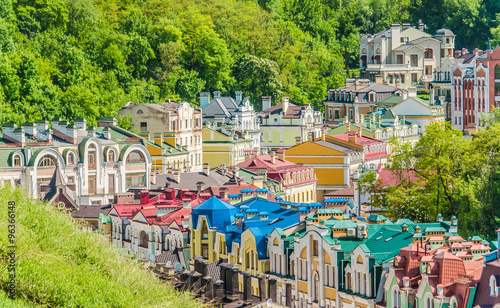 Staande foto Kiev Kiev, capital of Ukraine. Multi-colored houses. Panoramic from the castle hill. View of colorful old town Kyiv. Panorama.