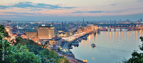 Panorama at night Kiev with the arch of Friendship of Peoples. Ukraine.