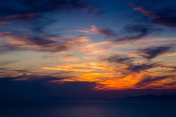 Fiery orange sunset sky. Beautiful sky.