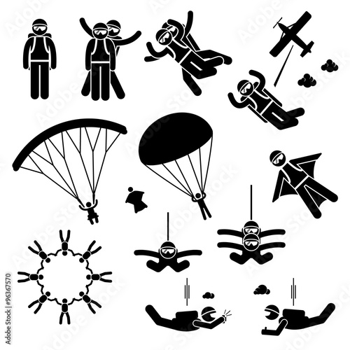Canvas Print Skydiving Skydives Skydiver Parachute Wingsuit Freefall Freefly Stick Figure Pic