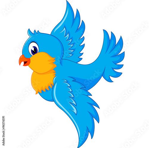 Aluminium Prints Pirates Illustration of happy Flying bird