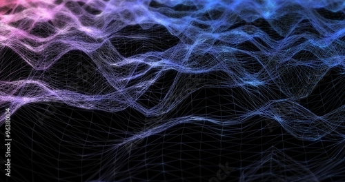 Fotobehang Fractal waves Futuristic Geometric Line Abstract Background - Creative Design Element.