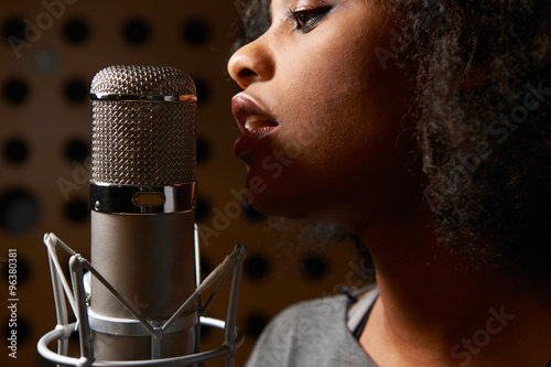 Female Vocalist In Recording Studio Wallpaper Mural