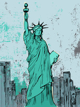 Hand Drawn Liberty Statue - Vector