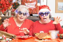 Funny Senior Ladies Having Fun...