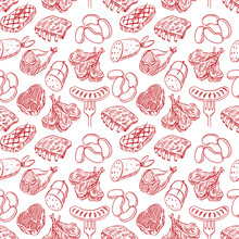 Seamless Sketch Meat Products