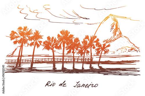 Photo  Hand drawn Rio de Janeiro coast