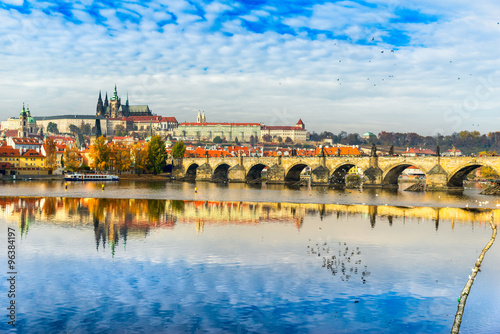 Prague, Charles Bridge, the Castle and St. Vitus Cathedral. Poster