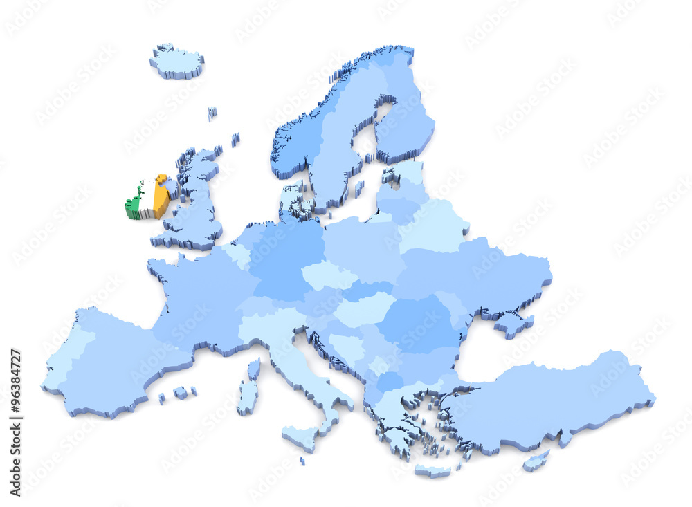 Print Map Of Ireland.Photo Art Print Europe Map Ireland With Flag Europosters