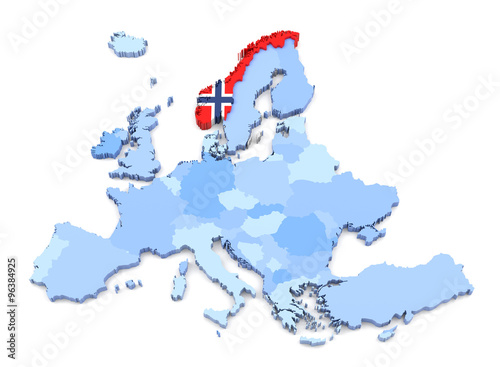 Photo  Europe Map, Norway with Flag