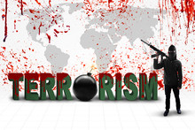 Man With Text Of Terrorism And Bomb Against Bloody Map